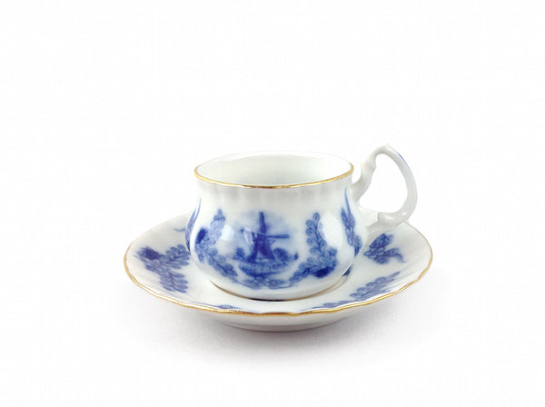 Delft Blue Porcelain Mini Cup and Saucer Set - DutchNovelties  - 1