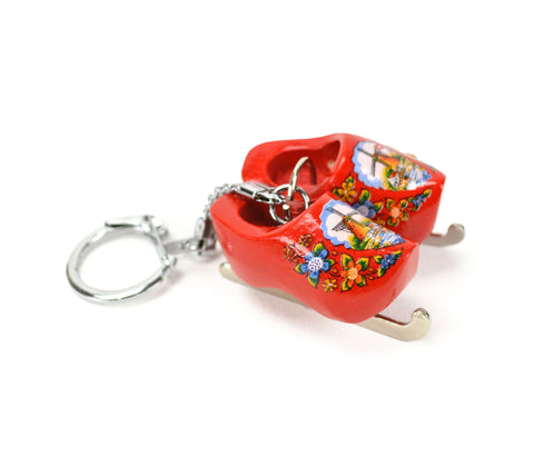 Wooden Clogs Key Chain Red Clogs with Skates - DutchNovelties  - 1