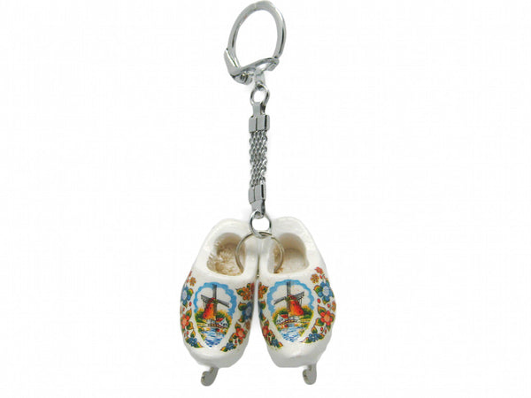 Wooden Clogs Keychain: White Clogs with Skates - DutchNovelties