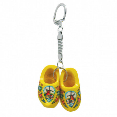 Dutch Wooden Shoe Keychain Yellow - DutchNovelties