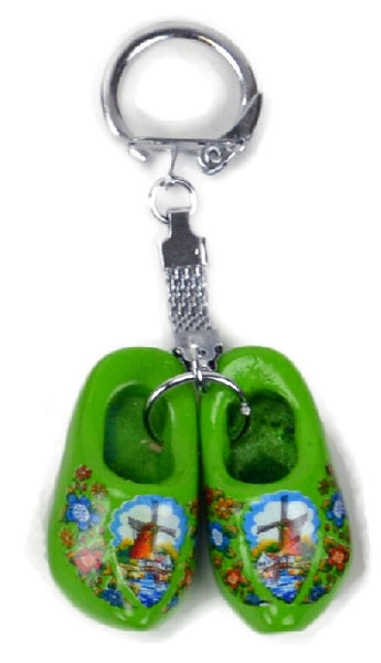 Dutch Wooden Shoe Keychain Green - DutchNovelties