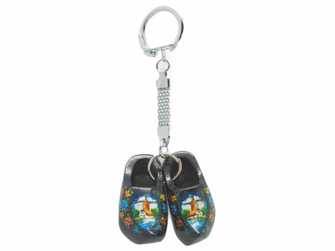 Dutch Wooden Shoe Keychain Black - DutchNovelties
