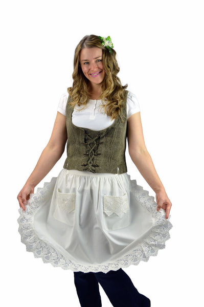Deluxe European Lace Adult Half Apron Ecru - DutchNovelties  - 1