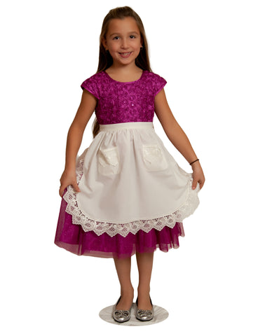 Deluxe Girls Apron Lace Ecru Half Apron (Ages 4-16) - DutchNovelties  - 1