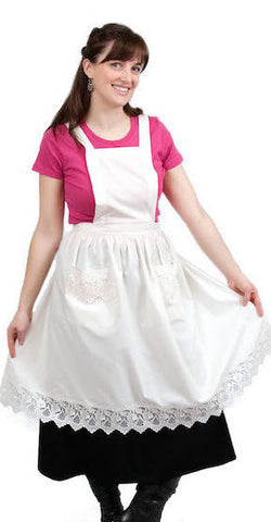 Deluxe European Adult Full Apron White - DutchNovelties  - 1