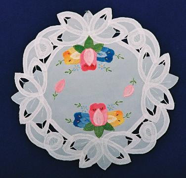 "Round Tulip Doily 12"" - DutchNovelties"