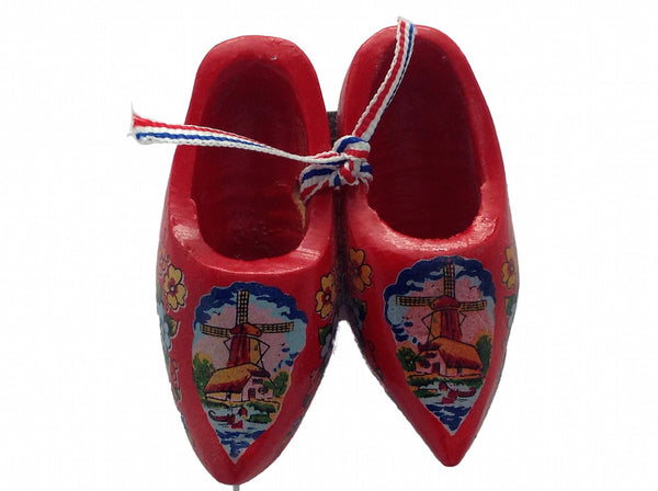Wooden Clogs Gift Kitchen Magnet Red - DutchNovelties