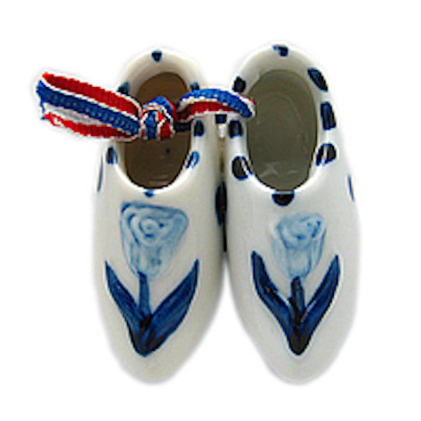 Ceramic Wooden Shoes Magnet Embossed Tulip - DutchNovelties  - 1
