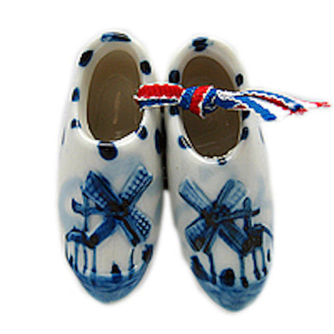 Ceramic Wooden Shoes Magnet Embossed Clogs - DutchNovelties  - 1