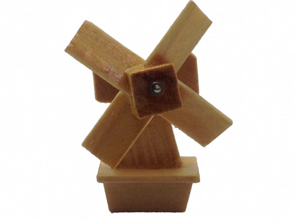 Fridge Magnets Wood Windmill Natural Color - DutchNovelties