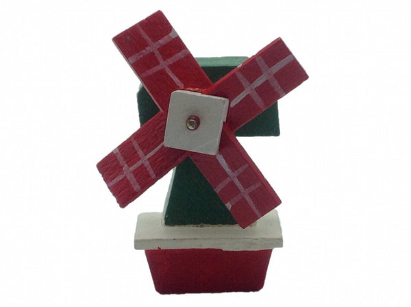 Fridge Magnets Wood Windmill Green & Red - DutchNovelties