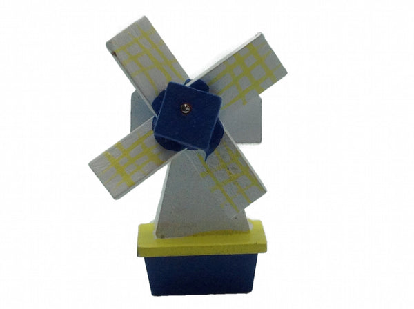 Fridge Magnets Wood Windmill Blue & Yellow - DutchNovelties