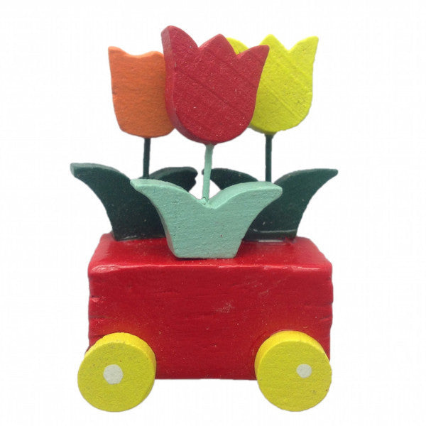 Dutch Wedding Favor Tulips Wagon Magnet - DutchNovelties