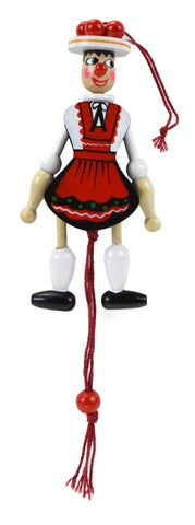 Bavarian Girl Jumping Jack Refrigerator Magnet - DutchNovelties