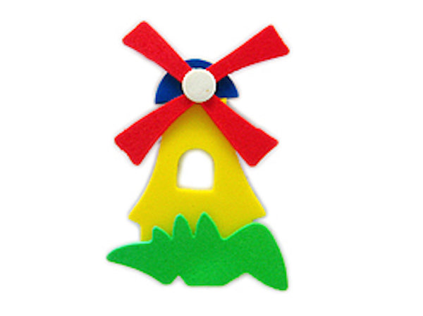 Tulip Time Fridge Magnet Yellow Poly Windmill - DutchNovelties  - 1