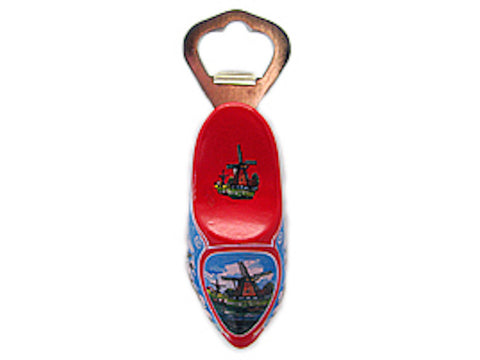 Bottle Opener Ring Red Magnet Wooden Shoe - DutchNovelties  - 1