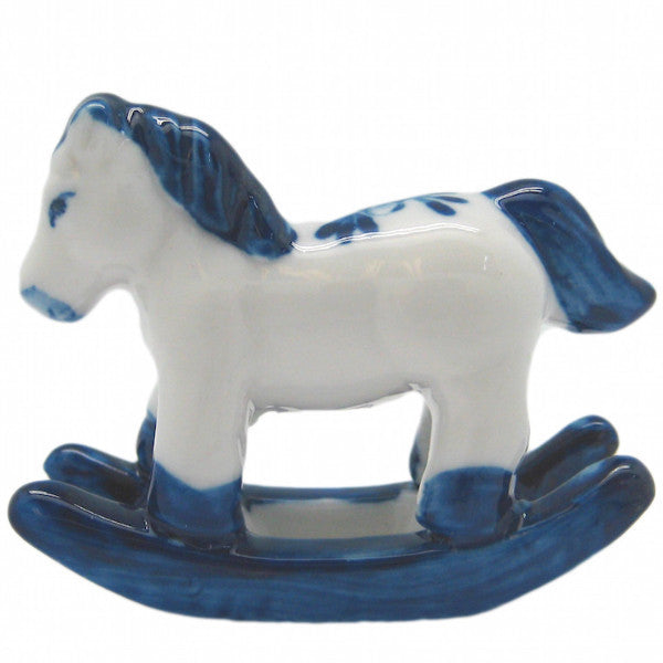 Miniature Animals Delft Blue Ceramic Rocking Horse - DutchNovelties