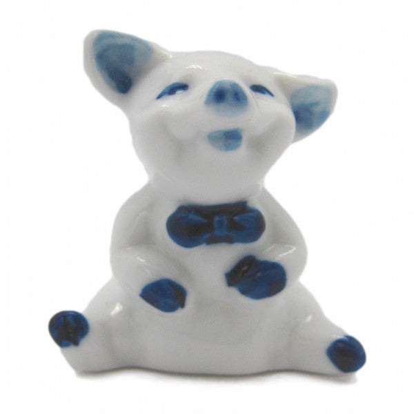 Miniature Animals Delft Blue Ceramic Happy Pig - DutchNovelties