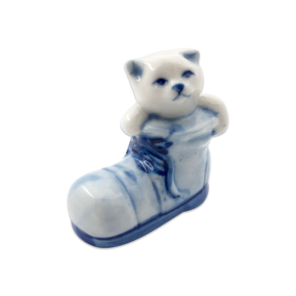Miniature Animals Delft Blue Ceramic Cat In Boot
