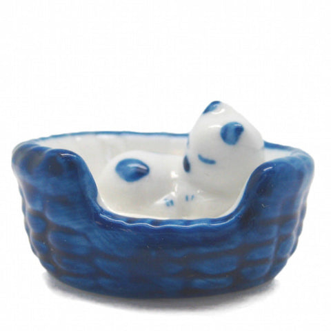 Animals Miniatures Delft Blue Cat In Basket - DutchNovelties  - 1