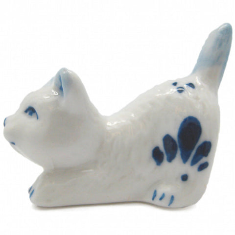 Animals Miniatures Delft Blue Happy Cat - DutchNovelties  - 1