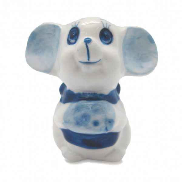Ceramic Miniatures Delft Mouse w/ Cheese - DutchNovelties  - 1