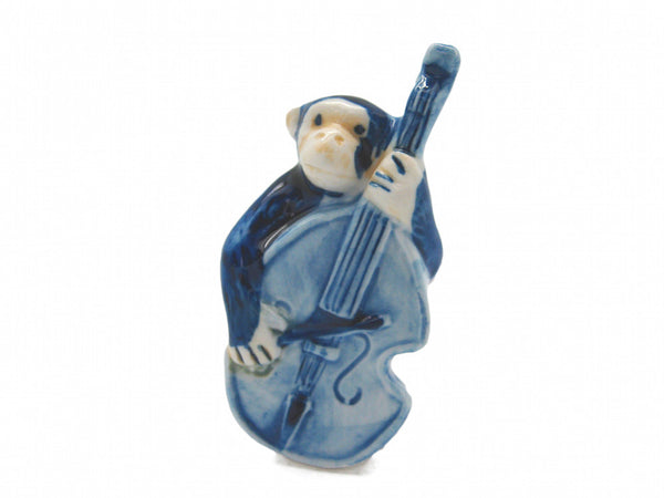 Miniature Musical Instrument Monkey With Bass Delft - DutchNovelties