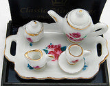 Miniature Tea Set With Flower Design - DutchNovelties