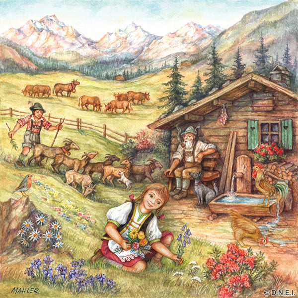 German Magnet Tile Alpine Heidi Scene - DutchNovelties