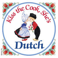 Dutch Kitchen Magnet Tile (Kiss Dutch Cook) - DutchNovelties