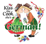 Ceramic Heart Tile Magnet: German Cook - DutchNovelties  - 1