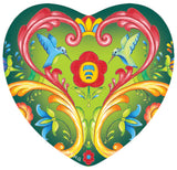 Magnetic Heart Tile Green Rosemaling Hearts - DutchNovelties  - 1