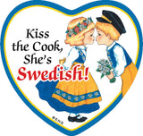 Ceramic Heart Tile Magnet Swedish Cook - DutchNovelties  - 1