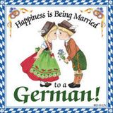 German Souvenir Magnet Tile (Happiness Married German) - DutchNovelties