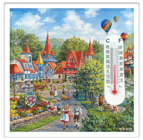 Mountain Village Thermometer Magnet Tile - DutchNovelties