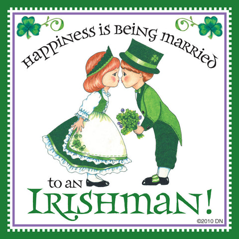 "Tile ""Married to Irish"" Irish Gift Idea Magnet - DutchNovelties  - 1"