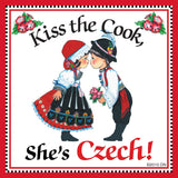 "Czech Gift Magnet Tile ""Kiss Czech Cook"" - DutchNovelties  - 1"