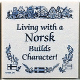 Norwegian Culture Magnetic Tile (Living With Norsk) - DutchNovelties