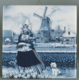 Dutch Tulip Girl Delft Magnet Tile - DutchNovelties