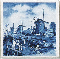 Dutch Landscape Tile Magnet Delft Calves/Windmill - DutchNovelties