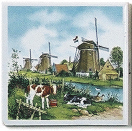 Dutch Landscape Tile Magnet Color Calves/Windmill - DutchNovelties