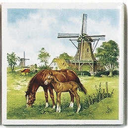 Dutch Landscape Tile Magnet Color Colt/Windmill - DutchNovelties  - 1