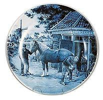 Collectible  J.C Van Hunnik Plates Blacksmith Blue