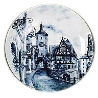 Collectible Plate European Village Blue - DutchGiftOutlet.com - 1