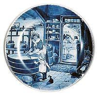 Collectible  J.C Van Hunnik Plates Cheesemaker Blue