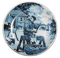 Collectible  J.C Van Hunnik Plates Clogmaker Blue
