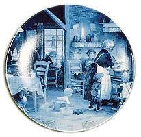 Collectible  J.C Van Hunnik Plates Family Gathering Blue
