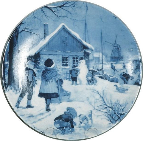 Collectible Plate Skater with Windmill Blue - DutchGiftOutlet.com