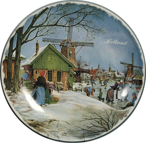Dutch Skaters Color Collector Plates - $10 - $20, Collectibles, CT-210, Decorations, Dutch, Home & Garden, Kitchen Decorations, Plates, Tiles-Scenic Plates, Van Hunnik, Windmills