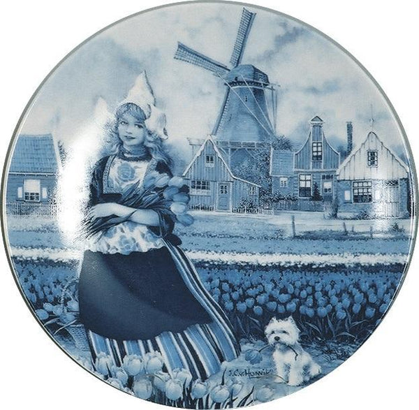 Collectible Plate Tulip Girl Blue - DutchGiftOutlet.com